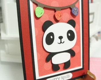 Merry Xmas panda greeting card