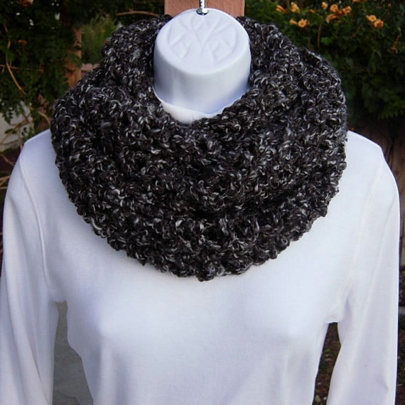 INFINITY COWL SCARF..Charcoal Grey Gray Tweed Multicolor..Super-Soft Long Crochet Knit Winter Thick Bulky Circle..Ready to Ship in 10 Days