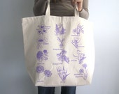 Canvas Tote Bag - Screen Printed Recycled Cotton Grocery Bag - Large Canvas Shopper Tote - Reusable and Washable - Eco Friendly - Floral