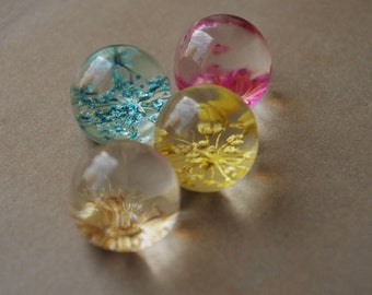 4Pcs Secrect Garden /Dry Flowers In Marbles