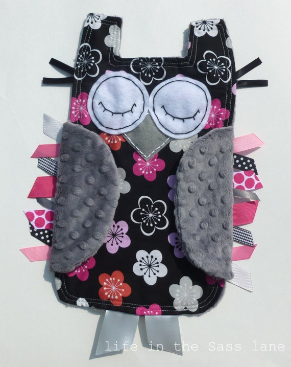 Owl Blankie in Pink, Gray and Black Mod Daisies with Ribbon Tags Minky Blanket Lovey Lovie Baby Gift