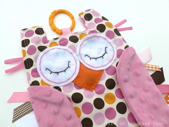 Polka Dots OWL Ribbon Tag Minky Blankie with Teething Link in Pink, Orange and Brown Print Blanket Lovey Lovie Baby Gift
