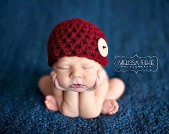 Red Newborn Big Button Beanie Hat