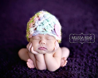 Newborn Merino Button Hat Pastel Green Yellow Blue Pink Purple