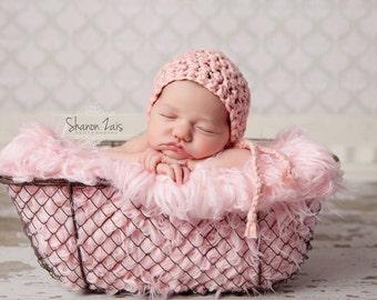 Simply Cotton Newborn Baby Bonnet Hat Soft Pink