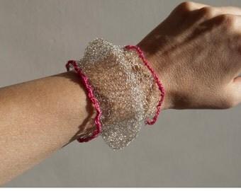 knitted silver bracelet