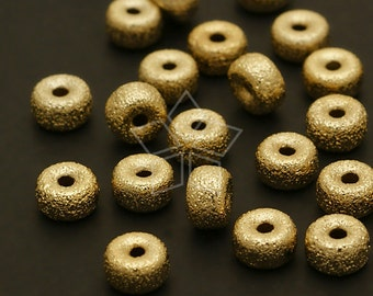 ME-117-GD / 6 Pcs - Sanding Rondele Bead (S-size), Gold Plated over Brass / 6mm x 3.7mm