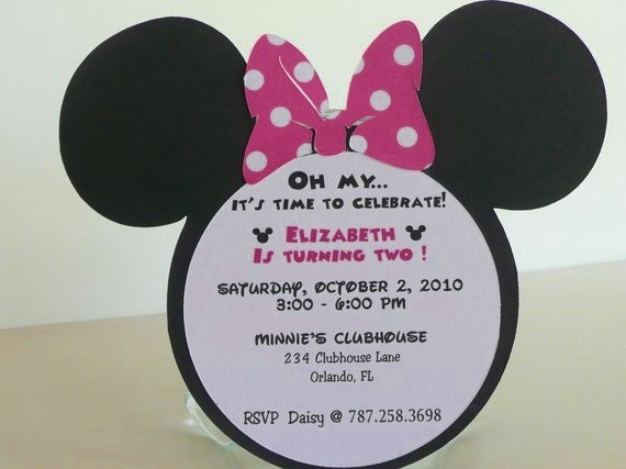 Minnie Mouse Birthday Invitations Invitation Pink Polka