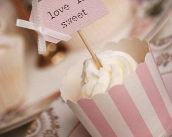 love is sweet Wedding Cupcake Toppers - blush pink with ivory bows - set of 10
