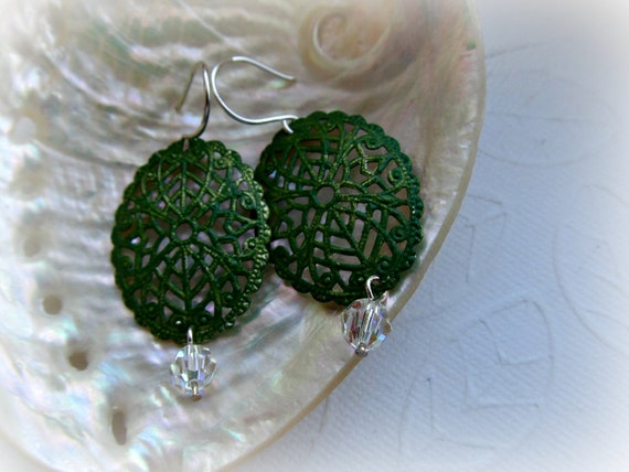Hand painted green filigree and crystal earrings