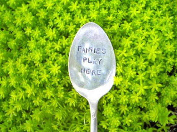 Vintage Silverware Plant Marker, Fairies Play Here
