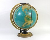 "Vintage Cram's Deluxe World Globe with Sun Ray and Season Indicator, Large 16"" Diameter, Classroom Globe"