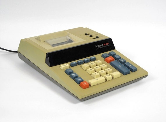 Vintage Casio DL-220 Printing Calculator, Electric, Cool 1970's Minimalist Design, Vintage Office