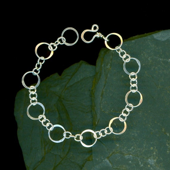 Wire Hoop Bracelet Open Circle Chain Sterling Link Circles Silver Wire Jewelry Women Gift
