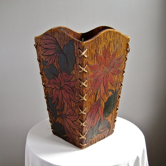 50 OFF SALE - Antique Pyrography Trash Can Storage Bin with Poinsettia Flowers, circa 1900 Arts and Crafts Rustic Decor