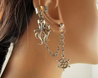 Nautical Chain Ear Cuff  Silver Octopus and Ship Wheels