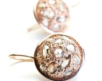 Diamond Earrings, Rose Cut Diamond Earrings, Rose Gold Earrings, Drop Earrings, Rose Cut Diamond and Rose Gold Earrings, OOAK, Nixin