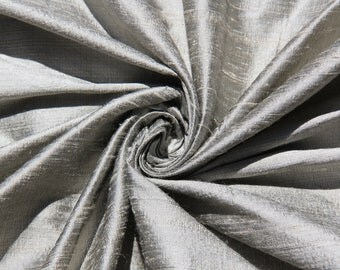 "Pewter 100% Dupioni Silk Fabric Wholesale Roll/ Bolt 55"" wide"