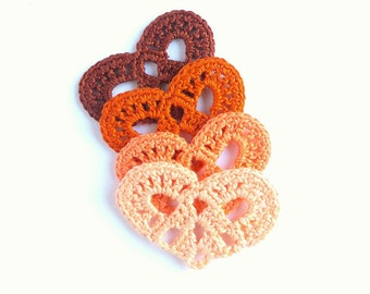 Crochet hearts applique - autumn colors - lace hearts embellishment - autumn wedding decorations - hearts decorations - set of 4