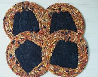 Fall Harvest Pumpkin Coasters... Set of 4 Fabric Coiled Coasters