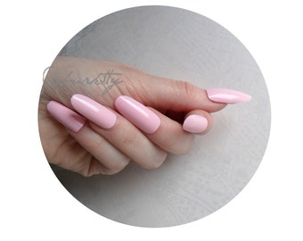 Pink Long Oval Style Nail Art Blanks w/ Nail Art PDF Tutorial DIY Kit pastel almond cute fake nails fingernail tips with glue