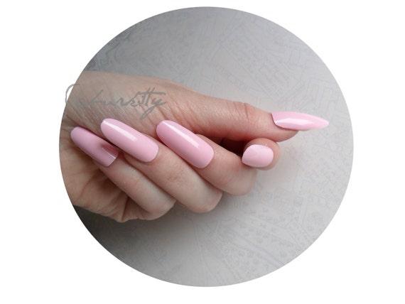 Pink Long Oval Style Nail Art