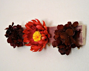 Necklace & Earring Hanger - Red Forest Flowers - stocking stuffer #20