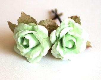 Mint Rose, Bridal Hair Accessories, Wedding Hair Accessories, Bridesmaid Hair Flower, Light Green Hair Flower, Brass Bobby Pin Set of 2