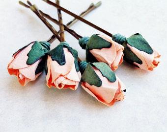 Peach Pie Rose, Peach Hair Flower, Bridal Hair Accessories, Bohemian Wedding Hair Flower, Peach Flower Bobby Pins - Set of 5
