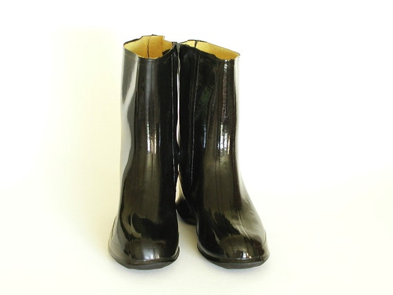 Shiny Black Overshoe Boots Sz 10 Rubber Galoshes 1950s Vintage