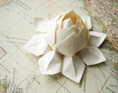 Lotus Flower - Handmade Origami Paper Flower - All Ivory - Wedding Cake Topper, Table Decoration, Confirmation, Baptism, Holiday Decor
