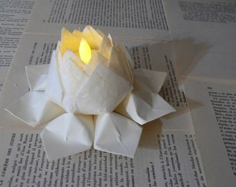 Tea Light Paper Flower -  origami, battery LED candle -  table decor, anniversary gift, winter wedding, hostess gift, can ship directly