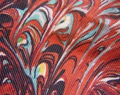 Vintage 1960s Burmel Long Scarf - Red Antiquarian Marbled Paper Design