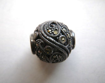 Large Round Sterling Silver Marcasite Filigree Bead Pandora Style?