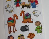 Christmas Story Nativity Scene set Stickers Holy Family Baby Jesus Advent Kit for blocks