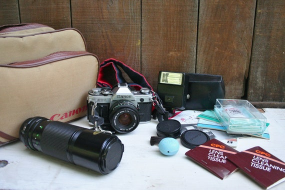 Vintage AE1 Cannon 35 mm Camera - Whole Photography Set
