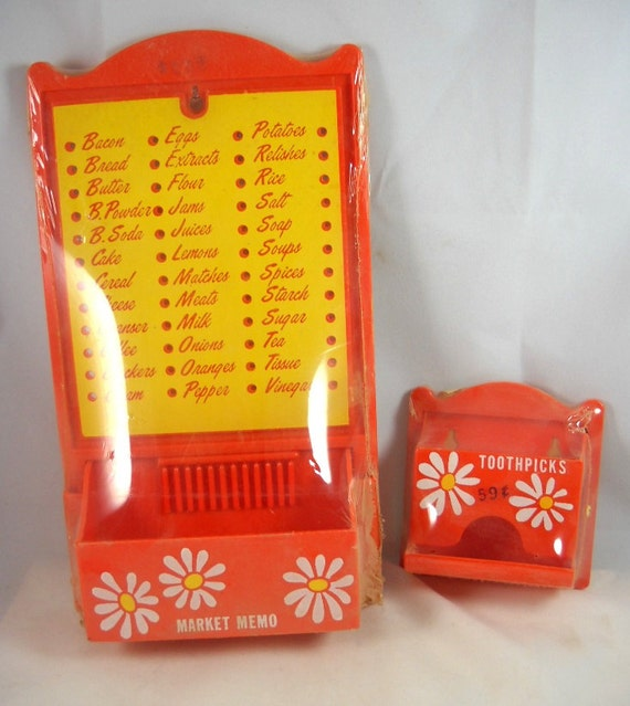 Vintage NIP Memo Shopping List Organizer Matching Toothpick Dispenser