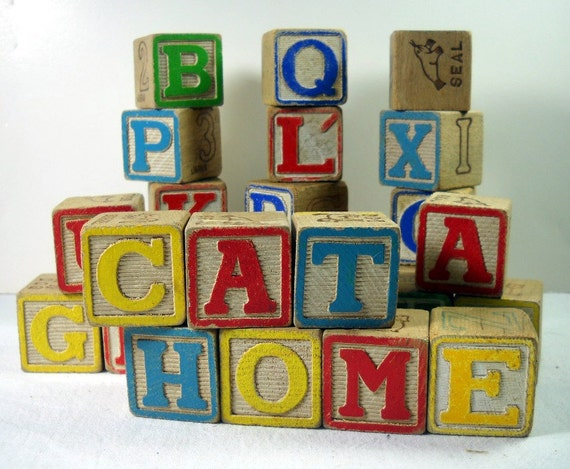 vintage small wood alphabet toy blocks abc letters animals With small wooden block letters
