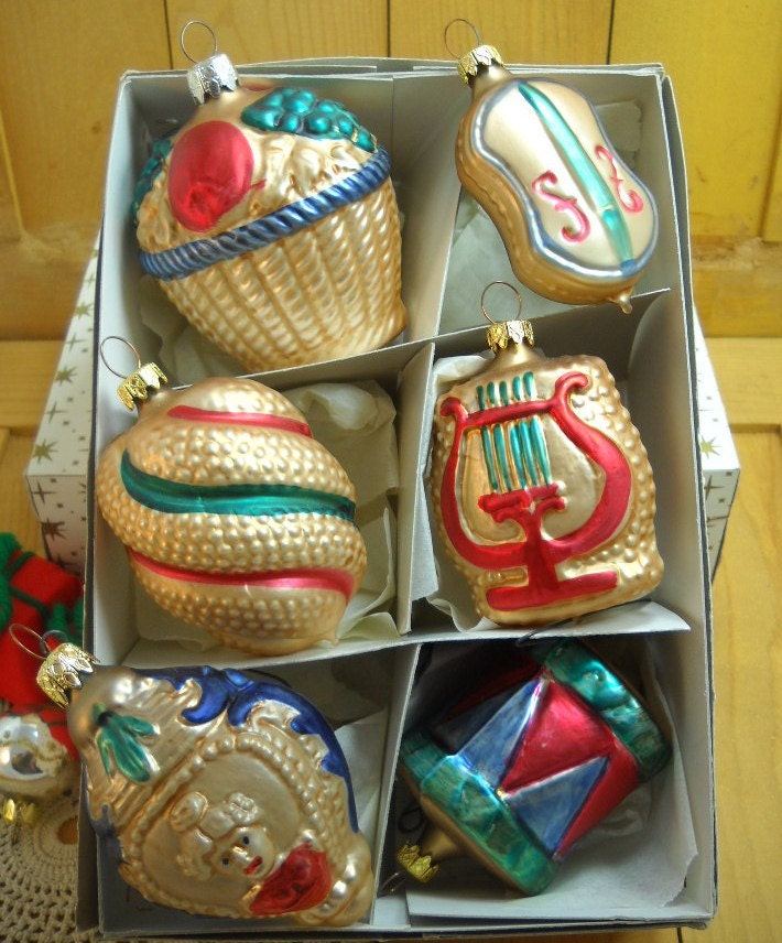 Vintage West German Christmas Ornaments Box of 6 Painted Gold