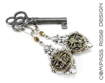 Victorian Button Jewelry Antique Button Earring Silver Mirror Edwardian Earrings