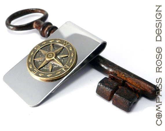 Men's Steampunk Money Clip Stainless Steel with Brass Compass Rose Star Detail