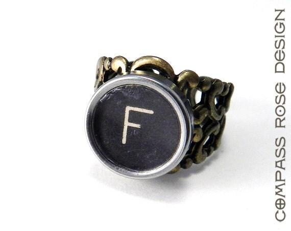 Steampunk Ring - Typewriter Key Ring - Letter F Ring Name Ring - Custom Initial Ring - Brass Adjustable Ring