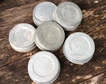 10 Vintage Zinc Lids for Blue Ball Mason Fruit Jars