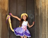 Rapunzel inspired Dress Up Costume Apron, Half Apron style... Made to Order