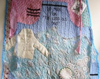 Apron Quilt Wall Hanging Vintage Retro Rustic Feminist Primitive Outsider - 28 x 38 Inches
