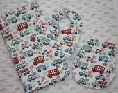 Baby Gift Set- Bib, Burp Cloth, Blanket- Beep Beep, red, blue, cars