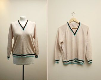 1970's White Sweater, Womens Sweater, Tennis Knit Top Pullover, Preppy Sweater M L ATA Fashion