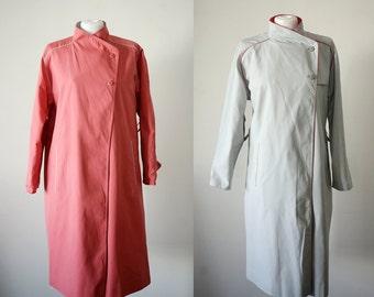 1970's Vintage Reversible Trench Coat Raincoat Plus Size Coat L XL Pink and Grey