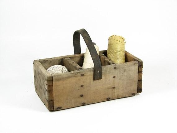 Vintage Wood Tote Primitive Tool Box Aged Wood Leather Handle