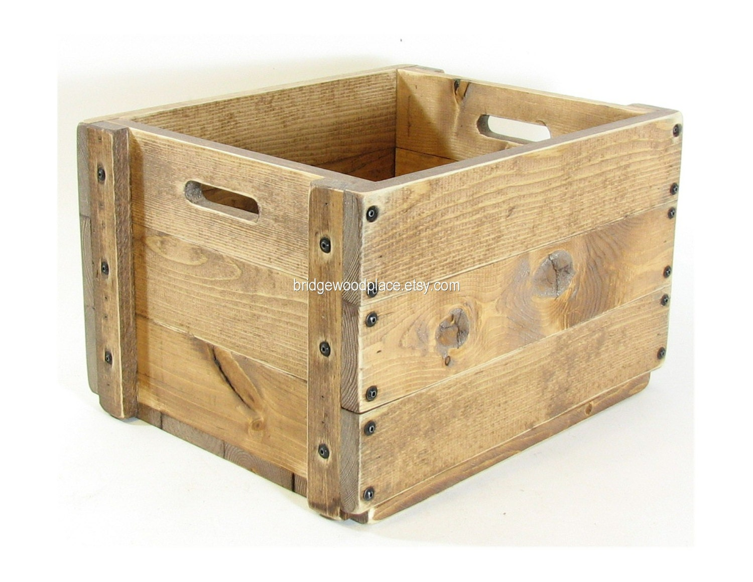 Wood Crate Wooden Box Wood Tote Wooden Carryall By Bridgewoodplace